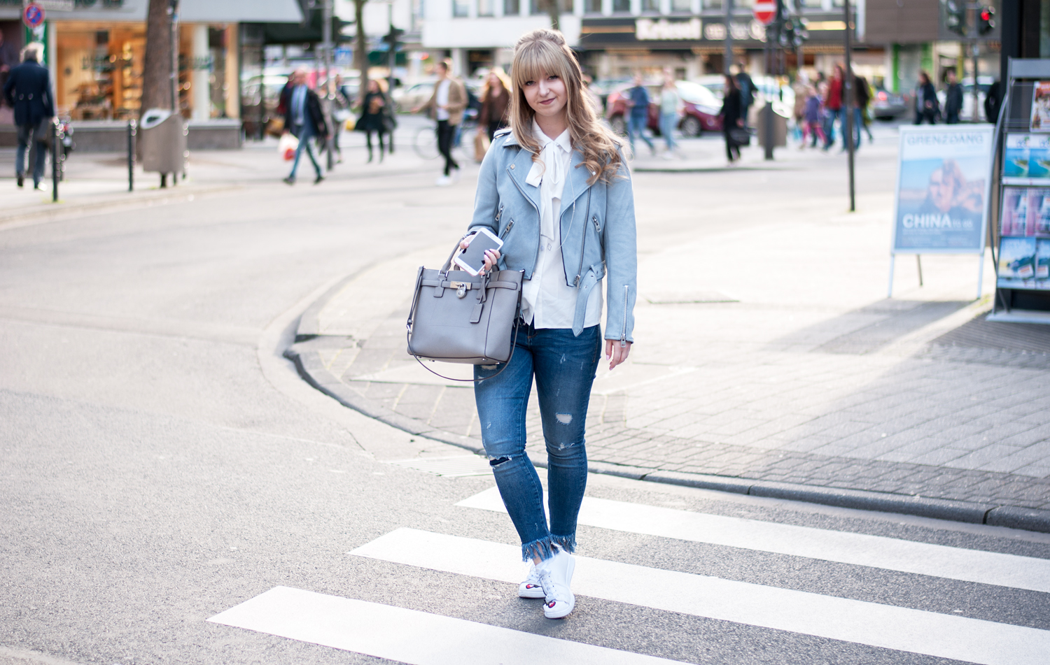 FRINGED JEANS, SERENITY JACKET & BOW-TIE BLOUSE